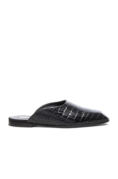 Stella McCartney Croco Moccasin Slides in Black