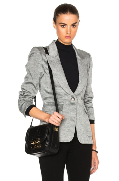 Peaked Lapel Inverted Pleat Pocket Blazer