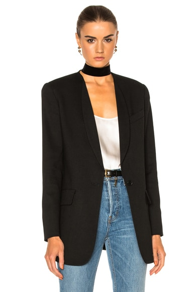 Smythe Skinny Lapel Blazer Jacket in Black Fade