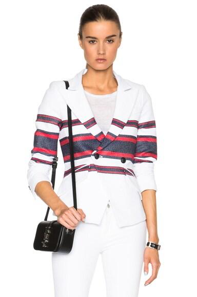 Smythe Crossover Tennis Blazer in Red & Navy Stripe