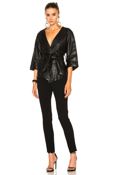 Smythe Washed Leather Kimono Jacket in Black