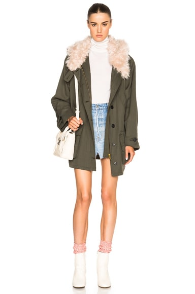 Smythe Anorak with Faux Fur Collar in Army
