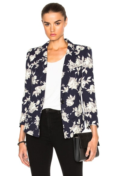 Smythe Sharp Shoulder Blazer in Navy Floral