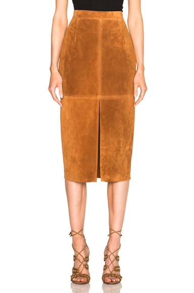 Smythe Suede Pencil Skirt in Rust