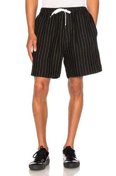 Second/Layer Boxer Shorts in Black Pinstripe