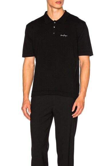 Second/Layer Merino Knit Polo in Black