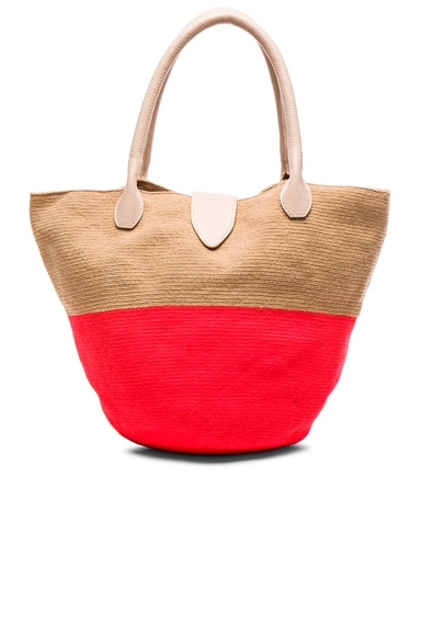 Sophie Anderson Canasta Tote in Beige Hot Coral