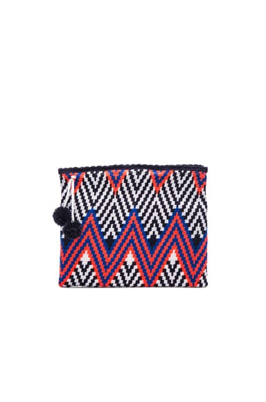 Sophie Anderson Lia 2 Clutch in Coral & Blue Zig Zag