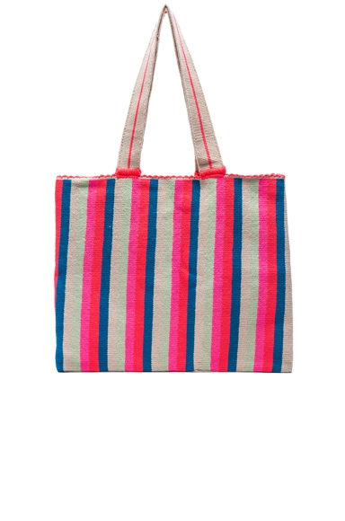 Sophie Anderson Alula Tote in Coral Lime & Royal Blue