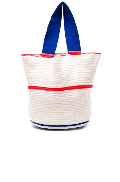 Sophie Anderson Jonas Woven Tote in White Thin Coral Line