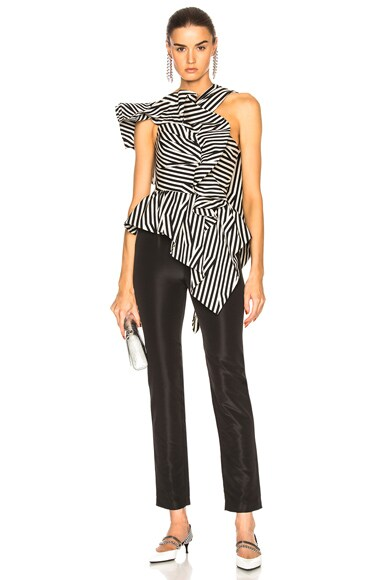 Asymmetric Stripe Ruffle Jumpsuit