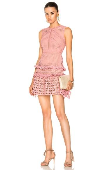 Crosshatch Frill Mini Dress