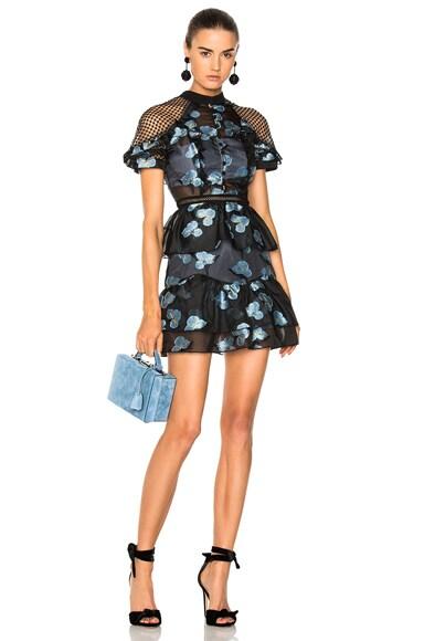 Fil Coupe Open Back Cape Mini Dress