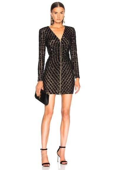Zip Front Mini Dress