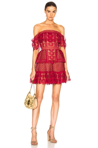 Off Shoulder Guipure Mini Dress