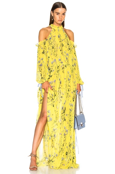 Floral Printed Cold Shoulder Dress