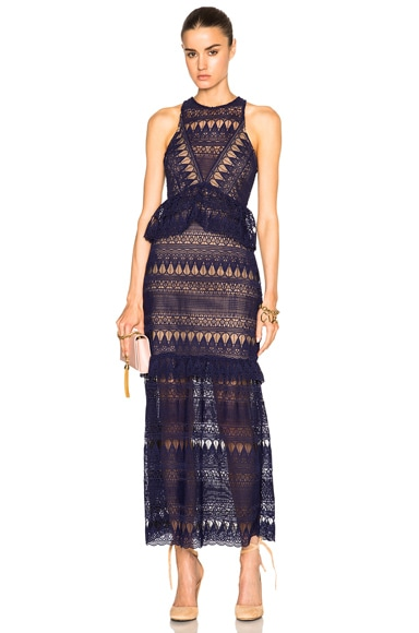 Teardrop Guipere Paneled Maxi Dress