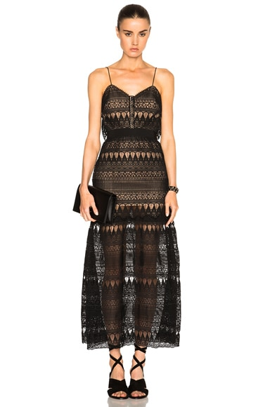 self-portrait Full Teardrop Guipere Patterned Dress in Black & Nude