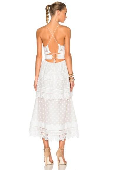 self-portrait Ivy Lace Trim Midi Dress in White