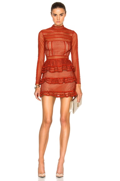 self-portrait High Neck Paneled Dress in Rust