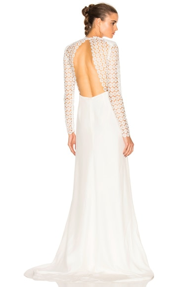 self-portrait Eva Backless Silk Wedding Dress in Off White