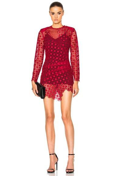self-portrait Strike Mini Dress in Raspberry Red