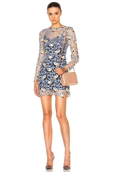 self-portrait Patchwork Mini Dress in Dove Grey