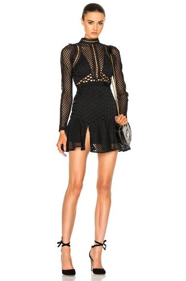 self-portrait Hall Mini Dress in Black