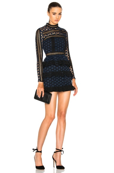 self-portrait High Neck Star Lace Paneled Dress in Navy