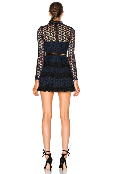 High Neck Star Lace Paneled Dress