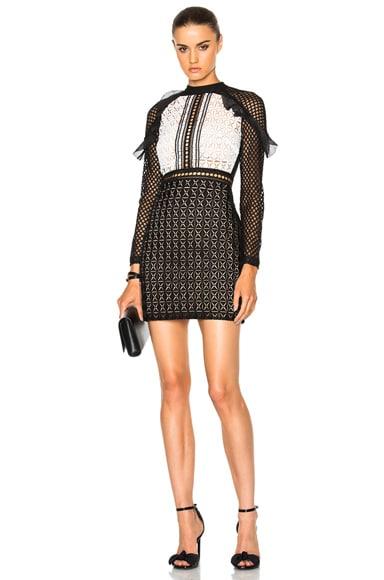 Geometric Monochrome Mini Dress