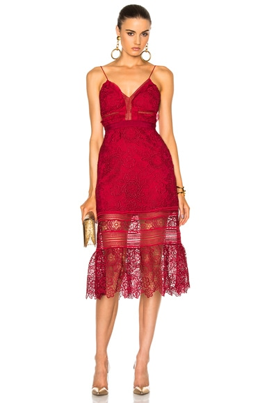 self-portrait Floral Blush Midi Dress in Raspberry Red