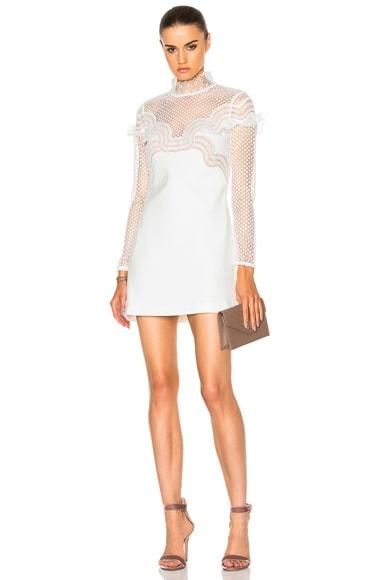self-portrait Wave Trim Mini Dress in Cream