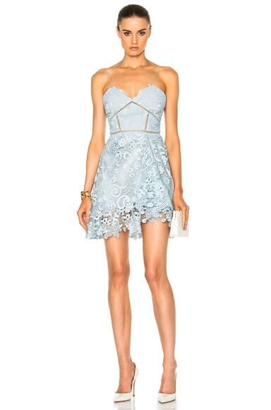 self-portrait Paisley Vine Midi Dress in Icy Blue