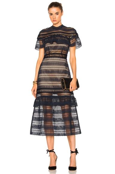 Drape Shoulder Midi Dress