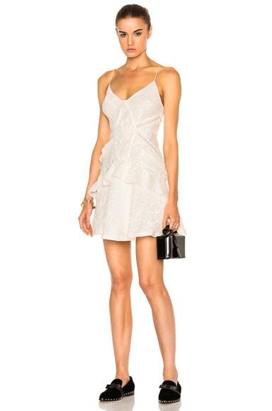 self-portrait White Jacquard Mini Dress in White