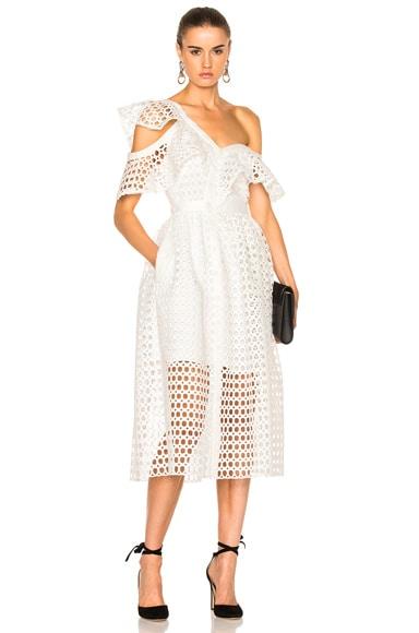 self-portrait Lace Frill Midi Dress in White