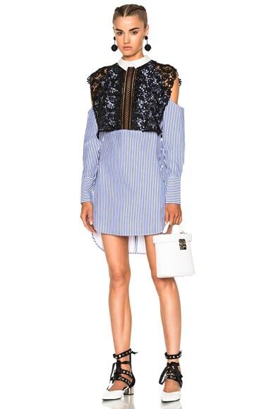 Stripe Shirting Cape Dress