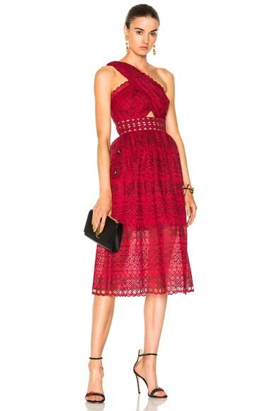 One Shoulder Cut Out Midi Dress