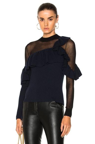 Asymmetric Frill Sweater