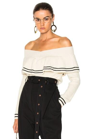 Striped Off Shoulder Sweater