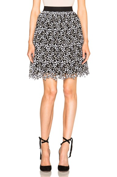 self-portrait Daisy Guipere Gathered Mini Skirt in Black & White