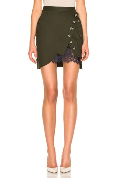 self-portrait Utility Mini Skirt in Khaki