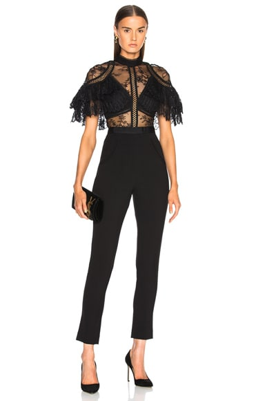 Fine Lace Paneled Jumpsuit