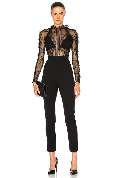 self-portrait Hall Jumpsuit in Black