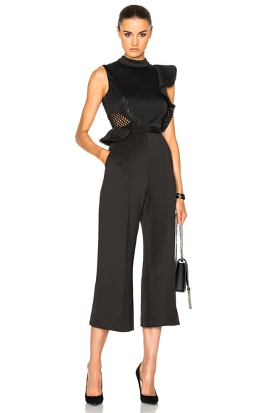 self-portrait Beaded Sequin Jumpsuit in Black