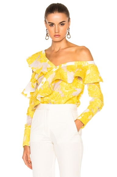 self-portrait Fil Coupe Frill Shirt in Yellow