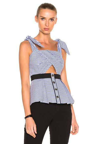 Stripe Shirting Tie Detail Top