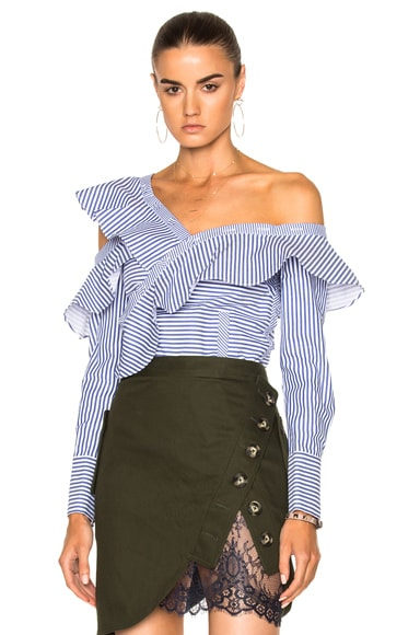 self-portrait Striped Frill Shirt in Navy