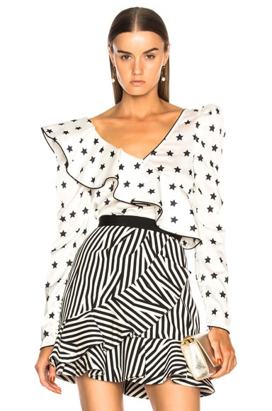 Printed Star Frilled Top